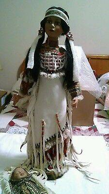 American Indian woman and babe. Handcrafted. Porcelain. Duck House Heirlooms .