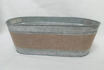 Galvanised metal planter, 13 inches x 5.5 inches new