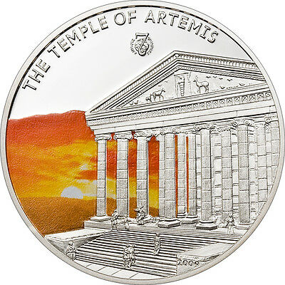 Temple of Artemis , 2009 Proof 1 Dollar Palau, Antique 7 Wonders of the World