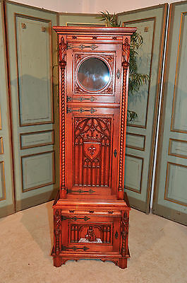 Antique French Narrow Gothic Clock Case Cabinet Decorative Tall Model in Oak
