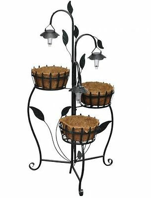 Garden Metal Plant Stand With Solar LED Plant Rack Patio Balcony Etagere Display