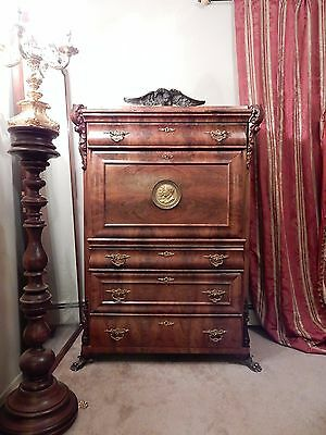 Antique Secretaire French Bronze Marquetry