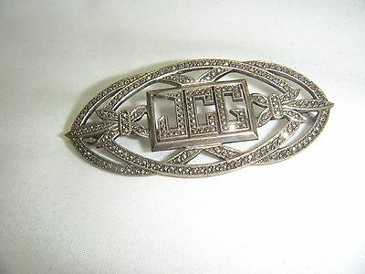 Antique Sterling Silver Marcasite Inital Pin Brooch JCG