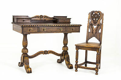 B376 Antique Carved Oak Writing Desk with Matching Chair