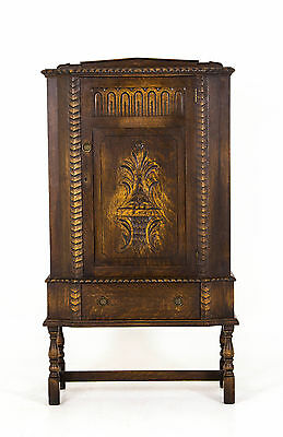 B378 Carved Oak Single Door Cabinet w.Adjustable Shelves, H. Krug Label
