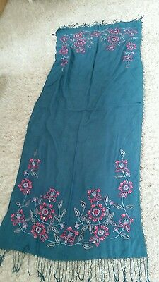 Assessorize  pashmina blue/ green with embroidery and sequined