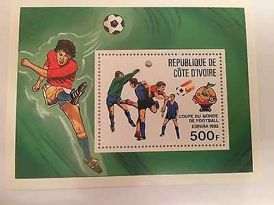 Ivory Coast Minisheet Mnh 1982 Football World Cup Spain