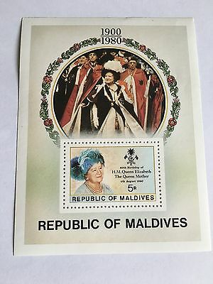 Republic Maldives Minisheet Mnh 1980 80Th Birthday Queen Mother Royalty