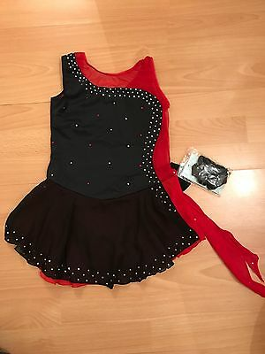 Brand New Black & Red Ice Skating Dress / Baton Twirling Dance Costume Age 7-10