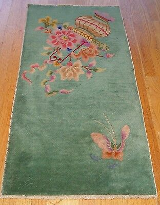 """2' X 3'10""""  Wonderful Antique Art Deco Chinese Hand Knotted Wool Oriental Rug"""