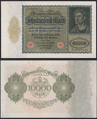 10,000 Marks German Note Issued 19 January 1922 Pick 71 - UNC