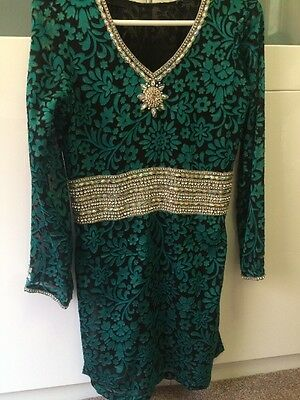 Black and Green Indian Top