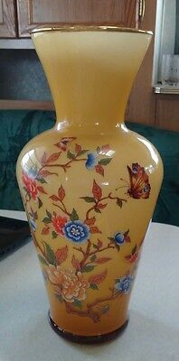 Unique vintage Italian amber/carmel cased glass vase with flowers/butterflies