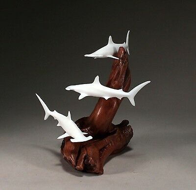 Trio of HAMMERHEAD SHARKS SCULPTURE New direct from JOHN PERRY 9in tall Statue