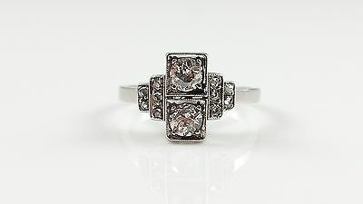 Vintage Art Deco Platinum 0.65Ct Old Cut & Rose Cut Diamond Ring Circa 1925