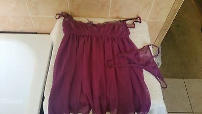 Ann Summers Hourglass  Lace & Mesh Purple  Babydoll & Thong Set Size 10 - 12 NWT