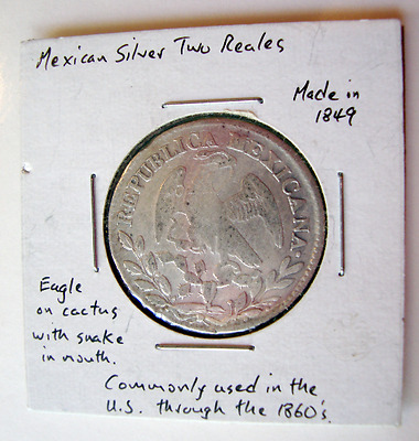 Antique 1849 Mexican Silver Coin, Two Reales.