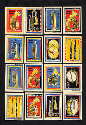 Serie of Czechoslovakian Matchbox Labels from 1958 - Musical instruments