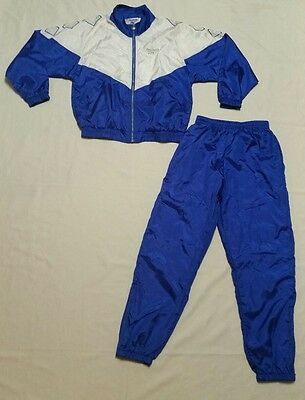 Vtg 80s REEBOK Windbreaker Blue White Silver Diamond Jacket Pants TRACK SUIT M