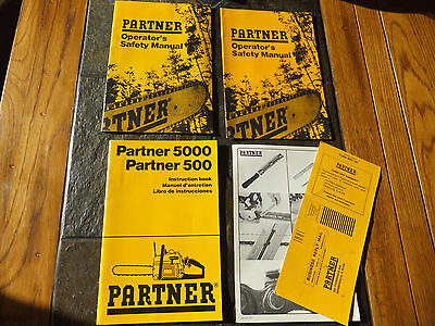 Partner 500 / 5000 Chainsaw Instruction Book & 2 Operator's Safety Manual