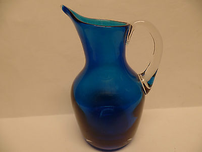c1966 Whitefriars Art Glass Kingfisher Blue  Jug With Clear Handle pat 9648