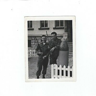 Vintage Photo of 2 1950's Era Soldiers w/ Weapons