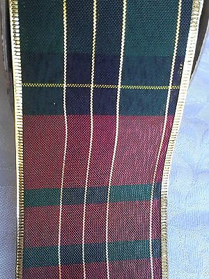 "5yd Plaid Red/Green/Gold 2.5"" Christmas Decor Wired Ribbon Wreaths Bows Gifts"
