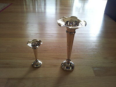 Two Antique/vintage Silverplate Fluted Trumpet Vases - Hamo - Made In England