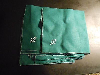 "4 Dark Green Linen With ""s"" Monogram Napkins---18"" X 18"""