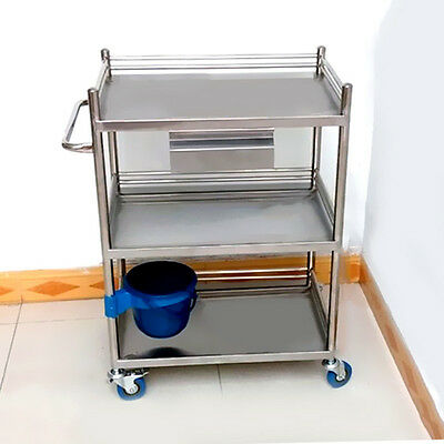 Buy Newest Stainless Steel Serving Medical Dental Lab Cart Trolley Three Layers