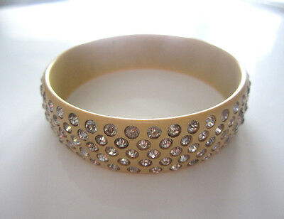 vintage 1920s art deco cream celluloid rhinestone bangle bracelet