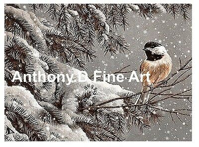 """ORIGINAL ACEO PAINTING """"WINTER CHICKADEE""""SNOW PINES LANDSCAPE PRINT By Anthony D"""