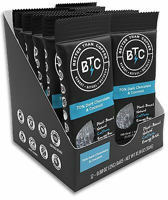 Better Than Coffee Energy Bars Dark Chocolate & Coconut Gluten Free 12 count ...