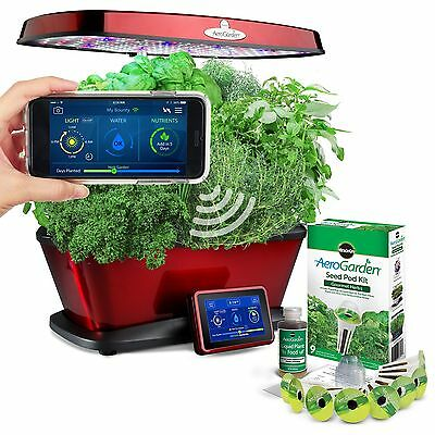 Miracle-Gro AeroGarden Bounty Elite Wi-Fi with Gourmet Herb Seed Pod Kit Red