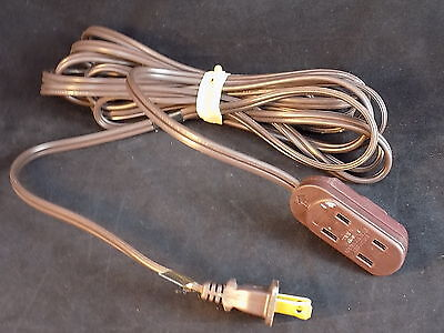 16 FOOT LONG brown extension cord 2 plug male to set of 3 female 2 plugs RARE!