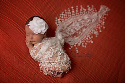 White Newborn Baby no-Stretch Lace Wrap Photography Prop US seller