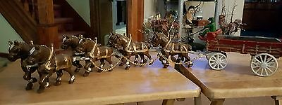 Vintage Cast Iron 8 Clydesdale Horses And Wagon With Driver!!!!