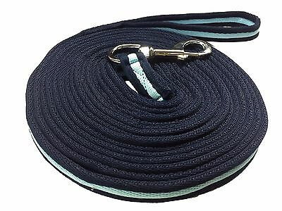 Soft Lunging Reins Training Aid Lung Line Lunging Rope In Navy/baby Blue/navy