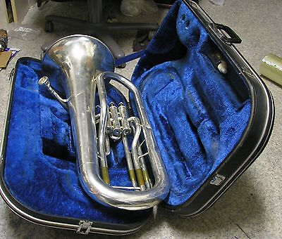 Yamaha Silver Euphonium YEP-201S With Case Vincent Bach 12C Mouthpiece