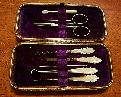 Antique Mother of Pearl sewing kit, Sterling handled scissors 8 piece in case