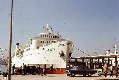 2 35mm Slides Greek Ships Harbor Aeolis Freighters Greece Waterfront 1969