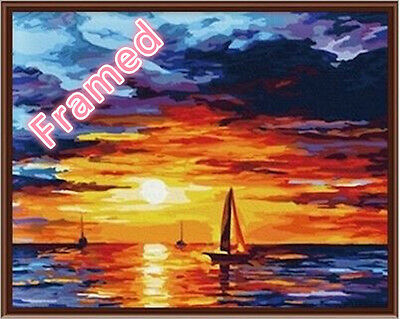 Framed 40*50cm Painting by Number Kit Sunset S5 FUN ART DIY F005 AU STOCK
