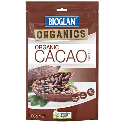 ~ Bioglan Organic Cacao Powder 100G Healthy Mood Antioxidants Stress Energy