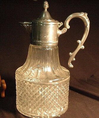 Glass diamond patterened silver plated handle and collar carafe