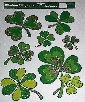 St. Patrick's Day  Window Clings  SHAMROCK'S WITH GLITTER