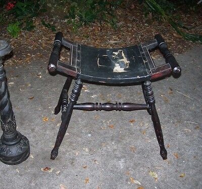 ANTIQUE PRIMITIVE FOOTSTOOL~Turned WOOD and LEATHER SEAT BENCH FOOT STOOL~as is