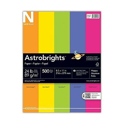 Neenah Astrobrights Premium Color Paper Assortment 24 lb 8.5 x 11 Inches 500 ...