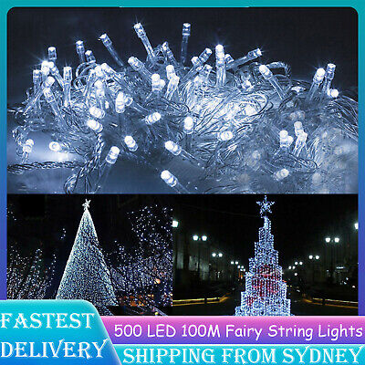 Bright White 500LED 100M String Fairy Lights SAA Christmas Wedding Party Cool D