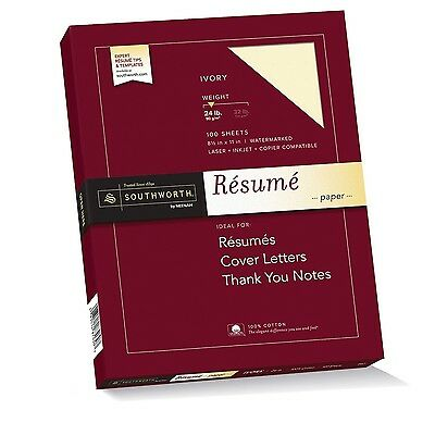 Southworth Exceptional Resume Paper 100% Cotton 24 lb Ivory 100 Count (R14ICF)