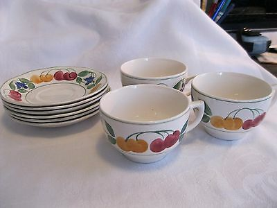 Barker Bros England - Royal Tudor Ware - Cherries 3 Cups and 6 saucers